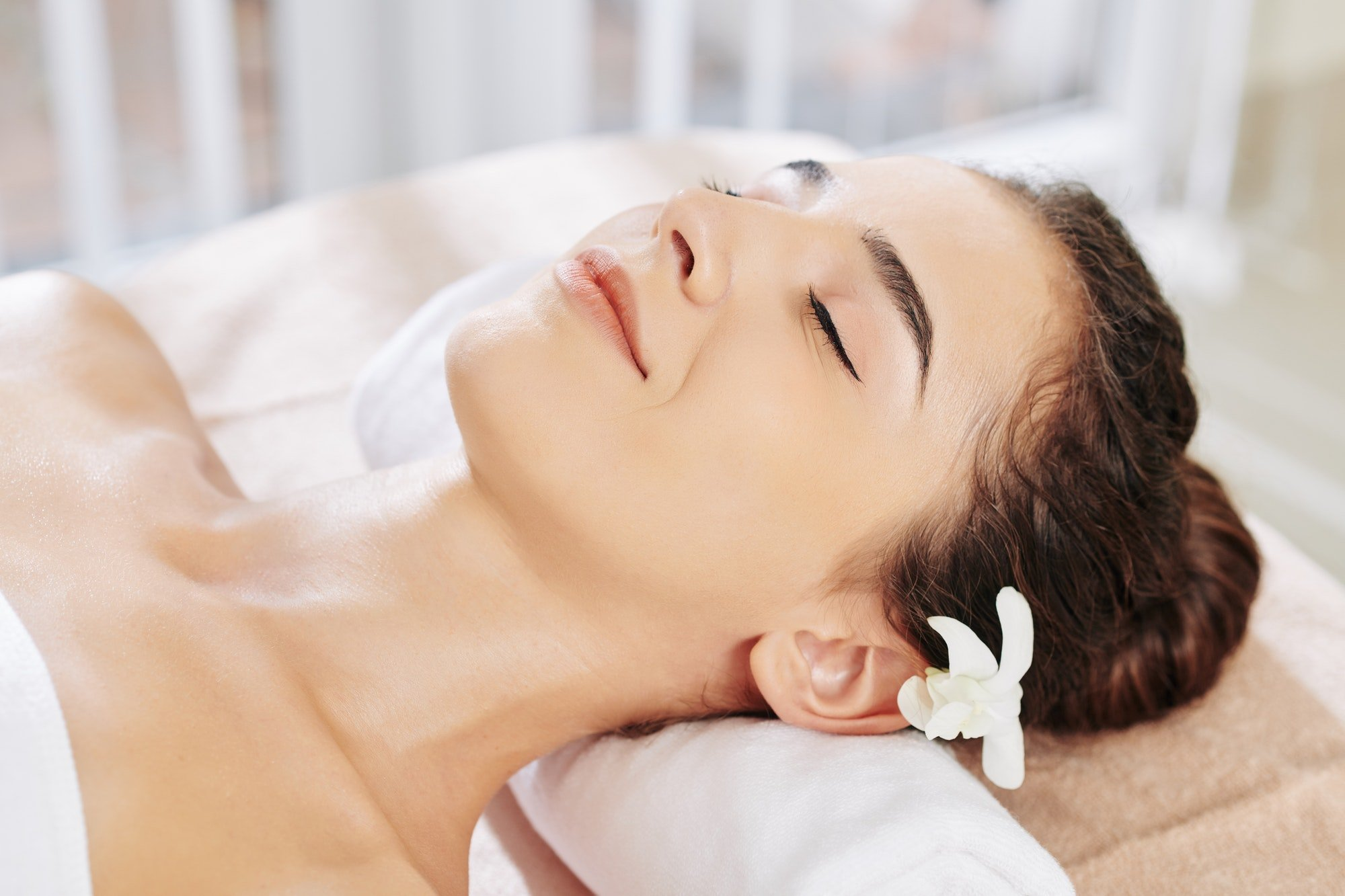 Woman spending day in spa salon